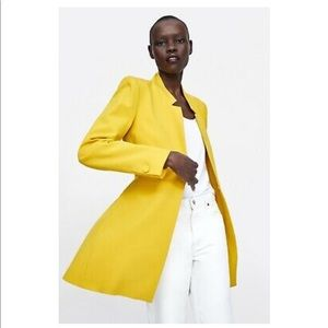 Yellow Inverted Lapel Collar Frock Coat Jacket